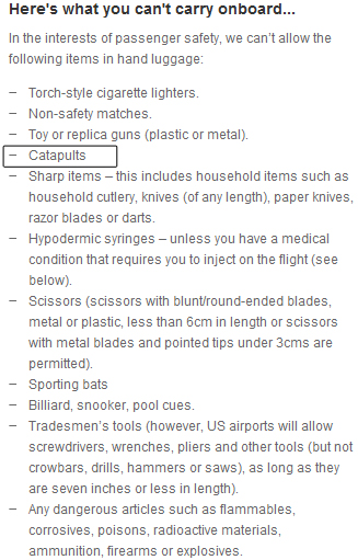 Restricted carry on items